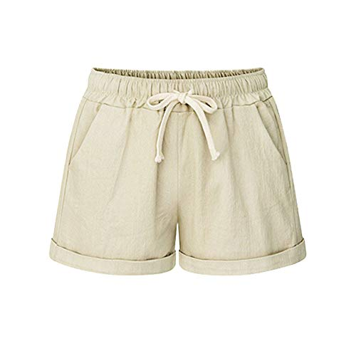 Women Short Pants, JOYFEEL ❤️ Ladies Cotton Linen Casual Elastic Waist Pants Drawstring Solid Summer Walking Shorts Khaki