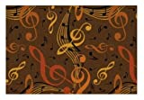Virtuoso Music Notes Brown - 5'x8' Custom Stainmaster Premium Nylon Carpet Area Rug ~ Bound Finished Edges