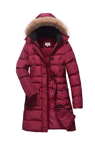 ELORA Women's Winter Puffer Mid Length Cargo Pocket Coat Fur Trim Removable Hood,Red, L