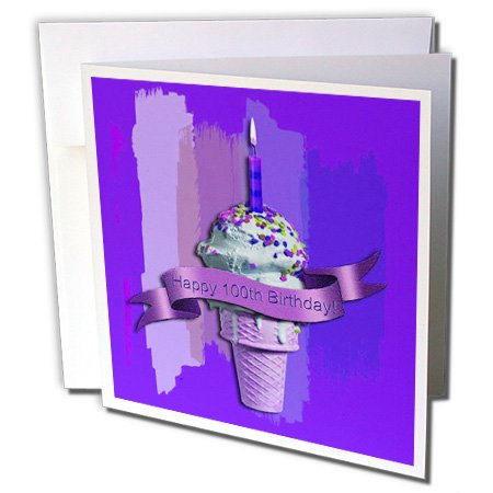 Happy 100th Birthday, Ice Cream Cone on Abstract, Purple - Greeting Card, 6 x 6 inches, single (gc_49113_5)