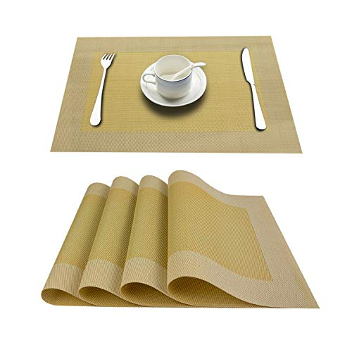 (Top Finel Placemats for Dining Table,PVC Table Mats Set of 4,Place Mats Non-Slip Heat Resistant Washable,Yellow)