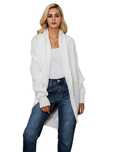 Simplee Women's Casual Loose Oversized Open Front Long Knit Cardigan Sweater,White,US 0-10