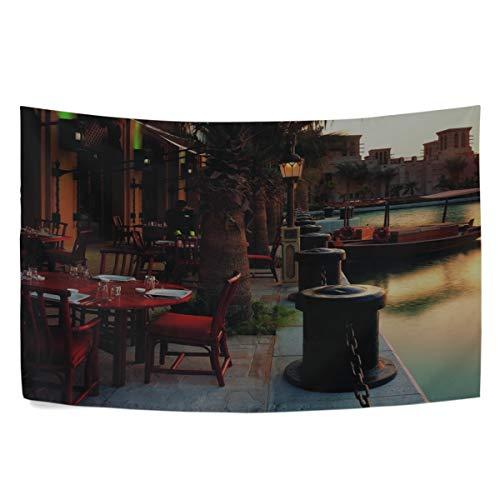 (RH Studio Tapestry Promenade Cafes Boats Sunset Evening Wall Hanging Tapestries Dorm Livingroom Bedroom Bedspread Sofa Cover Beach Towel(60x40inch))