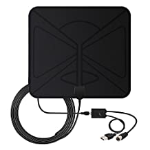 HDTV Antenna, Vinpie Indoor Amplified TV Antenna 50 Mile Range with Creative Adjustable Amplifier Booster and Longer 10FT High Performance Coaxial Cable