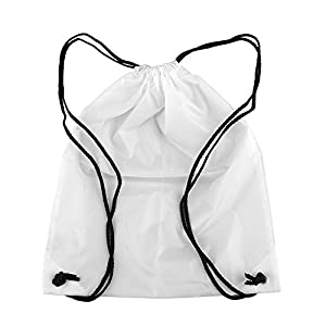 1 pc School Drawstring Sport Gym Swim Dance Shoe Backpack # White