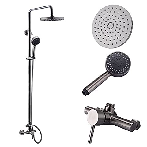 KES Shower System, Bathroom Faucet Set with Rain Shower Head and Handheld (Lead-Free 2 Function Adjustable SUS 304 Stainless Steel) Shower Bar Wall Mount, Brushed Nickel, - Brushed Stainless Adjustable Flange