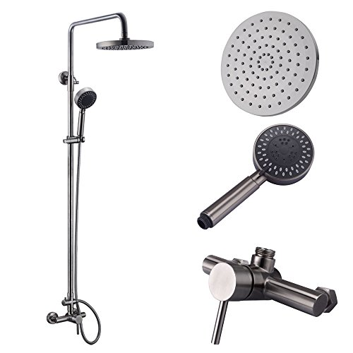 KES Shower System, Bathroom Faucet Set with Rain Shower Head and Handheld (Lead-Free 2 Function Adjustable SUS 304 Stainless Steel) Shower Bar Wall Mount, Brushed Nickel, X6050A