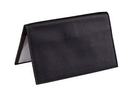 Dwellbee Premium Leather Checkbook and Register Cover with Pen Holder (Buffalo Leather, Black) - Black Leather Checkbook Cover