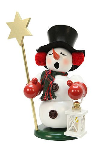 German Incense Smoker Snowman with Star - 23cm / 9 inch - Christian Ulbricht by Authentic German Erzgebirge Handcraft