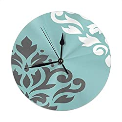 Dadi-Design Scroll Damask Art I White & Grey On Light Teal Wall Clock Silent & Non-Ticking Quartz Clock PVC for Home Office School Decorative Round 9.8