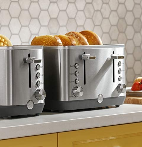 GE 2-Slice Toaster, Easy-to Use Toaster with Pre-Set Controls for 7 Shade Settings, Bagels & Frozen Items, Stainless Steel, G9TMA2SSPSS