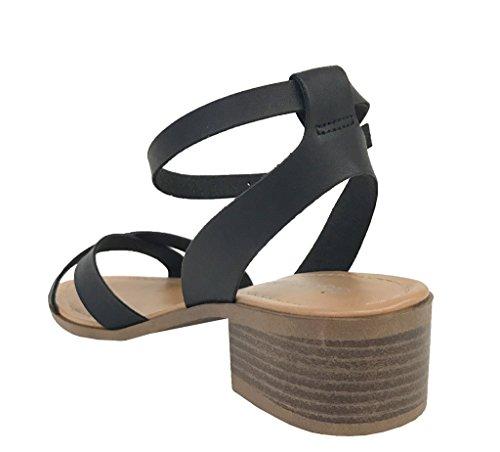 Wanka! Città Classificata Da Donna Incrociata Cinturino Alla Caviglia Con Cinturino E Sandali Con Tacco Medio In Similpelle Nera