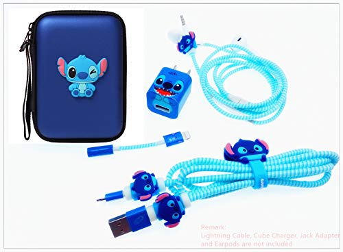 Tospania DIY Kit for iPhone Xs/X 8 Plus and Backwards-Compatible IPad iPod iWatch Charging Cable/Earphones and USB Charger (Blue Stitch)