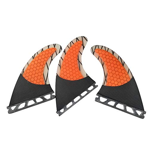 UPSURF Surfboard fins Future G7/G5 Honeycomb+Carbon+Fiberglass Tri fins (Orange G7)