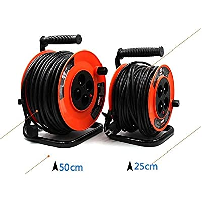 LIFEIYAN Retractable Extension Cord Reel Status Socket Cable Reel With Thermal Out orange 30-100 Metres  Metal Frame Extension Cord Outdoor extension cord holder  Size meters