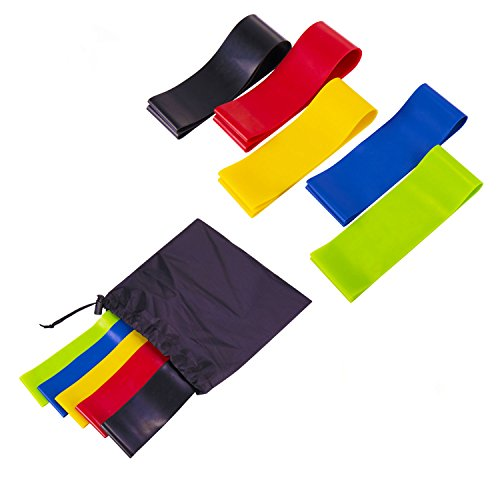 Yolink Sport Resistance Loop Bands Set of 5 - Best Home Gym Fitness Exercise Bands for Legs, Glutes, Crossfit Workout, Physical Therapy Pilates Yoga & Rehab - Improve Mobility & Strength Training
