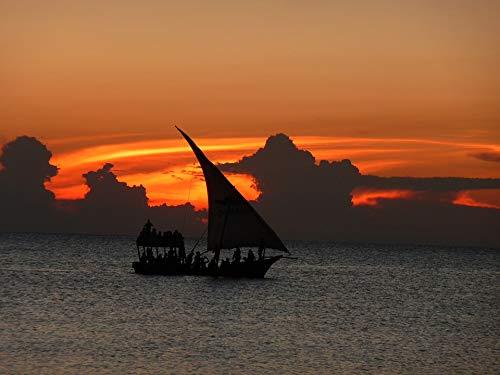 Home Comforts Peel-n-Stick Poster of Evening Boat Sunset Zanzibar Orange Sky Sea Vivid Imagery Poster 24 x 16 Adhesive Sticker Poster Print ()