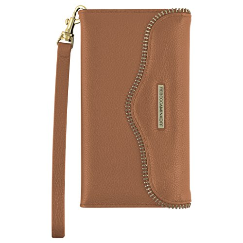 Rebecca Minkoff Wristlet, M.A.B. Tech Wristlet Case [Protective] Designer Clutch Wristlet fits Apple iPhone 7 - Almond Leather