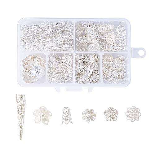 Pandahall 6 Style Brass Filigree Flower Bead Caps Silver Plated Bail Style Metal End Caps for Bracelet Earring Jewelry Making About 205pcs/box