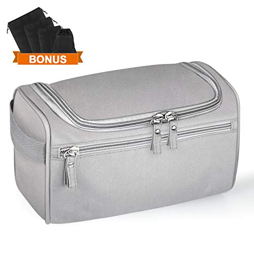 Travel Toiletry Bag – Hanging Toiletry Bag for Women Men, Waterproof for Shaving Grooming Cosmetic Toiletries, Suitable for Business Trip and Vacations, Grey 4 Sizes Shoes Organizer Pouches Included