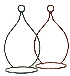 HIT Corp Iron Planter Holder, 6 by 12-Inch, Cranberry/Forest Green, Set of 2