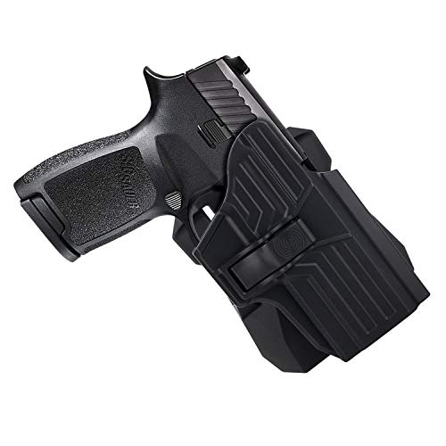 HQDA OWB Holster: Fits Sig Sauer P320 Compact/ P320 RX Compact/ P320 X Carry (BLK, RH), Tactical Outside Waistband 360°Adj. Cant, Paddle Handgun Holder, Pistol Case, Index Finger Release Fast Draw
