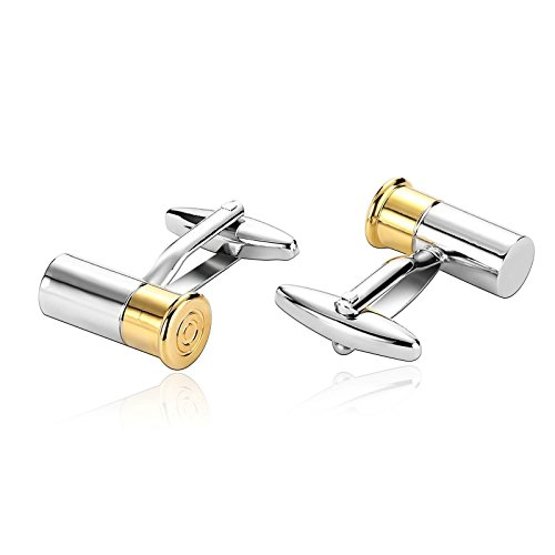 Two Tone Diamond Cufflinks - MoAndy Stainless Steel Cuff Links for Mens Fashion Bullet Two Tone Design Gold Silver