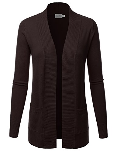 LALABEE Women's Open Front Pockets Knit Long Sleeve Sweater Cardigan-BROWN-M -