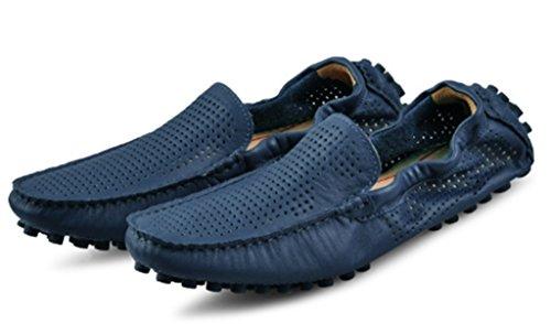 Crc Frt18716 Populaire Style Britannique Respirant Bout Rond Slip Sur Le Cuir La Marche Entraînement Mocassins Doug Chaussures Bleu Foncé