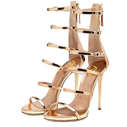 FSJ Women Sexy Strappy Gladiator Wedding Sandals Open Toe High Heel Stiletto Shoes Size 10 Gold - Patent Strappy Stiletto Heel