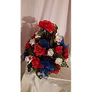 United States Military Recognition Silk Flower Cemetery Cone Arrangement 38