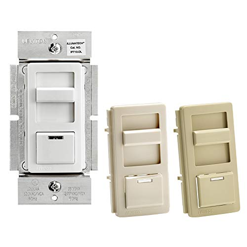 Leviton IP710-DLZ IllumaTech Slide Dimmer for LED 0-10V Power Supplies, 1200VA, 10A LED, 120/277 VAC, White w/ Color Change Kits Included