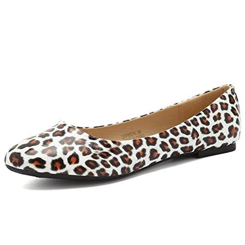 CIOR Women Ballet Flats Classy Girls Casual Slip-on Comfort Walking Shoes,LeopardPU,230,5M