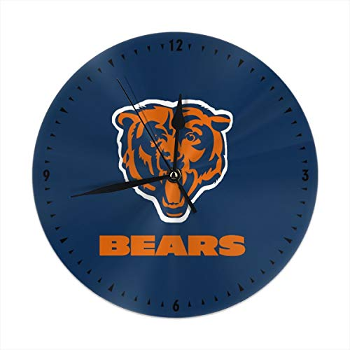 Kanteband Decorative Round Wall Clock Chicago Bears Silent & Non-Ticking Quartz Clock Home Decor Clocks for The Living Room, Kitchen, Bedroom, and Patio (The Chicago Patio)