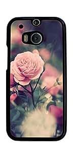 Rose Red Pink Flower Hard Case for HTC ONE M8 ( Sugar Skull )
