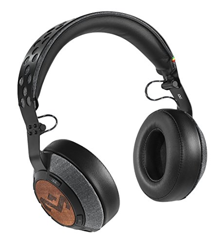 House of Marley, Liberate XLBT Bluetooth Wireless Over-Ear Headphones - 12 Hour Playtime, Removable 1-Button Microphone, Foldable Over Ear Design, Comes with Stash Bag, EM-FH041-MI Midnight
