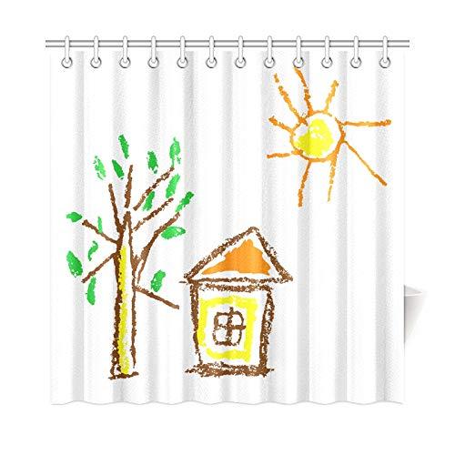 VNASKL Home Decor Bathroom Fabric Curtains Wax Crayon Like Kids Polyester Fabric Waterproof Curtain Window Bathroom for Bathroom 7272 Inch with Hooks ()