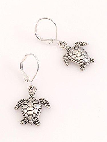 Antiqued Sandy - Antiqued Pewter Turtle Earrings