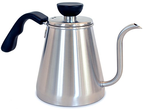 Pour Over Coffee and Tea Drip Kettle 1L - Ovalware RJ3 Stainless Steel Precision Gooseneck Spout for Home Brewing, Camping and Traveling (Stainless Steel, 1 Liter) (Seamless Tea Kettle compare prices)