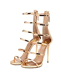 FSJ Women Gladiator Sandals Open Toe Pumps High Heels Shoes Strappy Buckle Stilettos Size 4-15