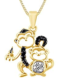 Black and White Diamond Motherly Monkey Pendant Necklace 14k Gold Over Sterling Silver