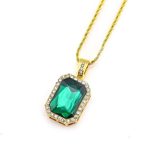 Fellocoo Square Ruby Green Gem Stone Pendant Charm and Gold Rope Chain Necklace - Square Gold Charm