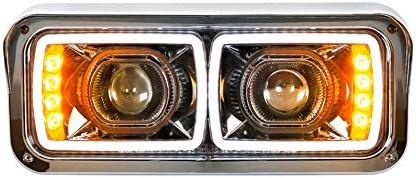 1 Pack United Pacific 31154 Modular Chrome LED Projection Headlight with LED Turn Signal