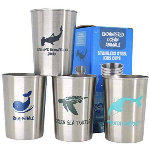 (Stainless Steel Cups for Kids Toddlers and Babies Party Favors 4 pack 10oz - Endangered Ocean Sea Animals featured on Metal Tumblers, Gift by Hatty with Free Origami Corner Bookmark)