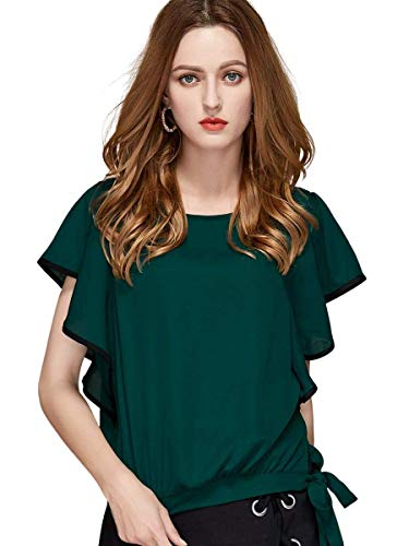 THINK WEAR Casual Flared Sleeve Solid Women Dark Green Top