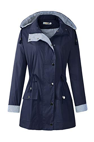 BBX Lephsnt Rain Coats for Women Lightweight Rain Jacket Active Outdoor Trench Coat Navy Blue