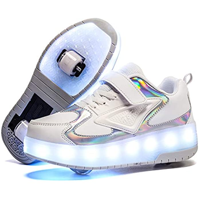 Ylllu Kids LED Roller Skate Shoes with Double Wheel USB Charge Light up Roller Shoes Gift for Girls Boys Children