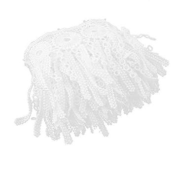 Amazon.com: eDealMax poliéster ropa de la Falda de la borla de Cortina de costura del ornamento del ajuste del cordón 2.2 yardas Blanca