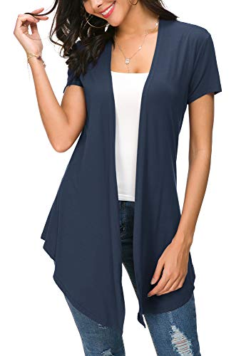Womens Solid Open Front Short Sleeve Cardigan (S, Navy Blue)