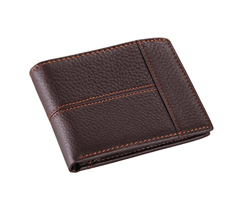 YAAGLE Mens Casual Genuine Cowhide Leather Wallet Purse Credit Card Holder ID Business Case Money Clip Coin Pocket Pouch Bag Horizontal Style Black Coffee Brown